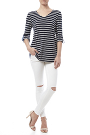 Tribal Stripe Chambray Top - Front full body
