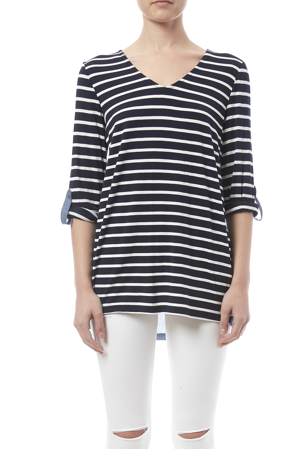 Tribal Stripe Chambray Top - Side Cropped Image