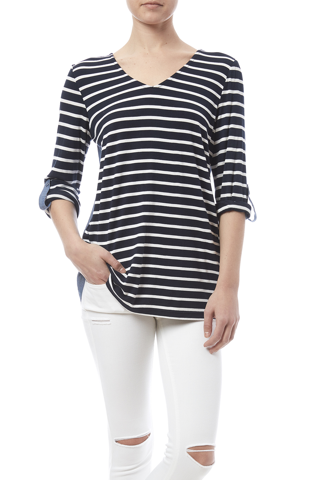 Tribal Stripe Chambray Top - Front Cropped Image