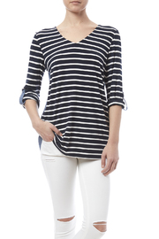 Tribal Stripe Chambray Top - Front cropped