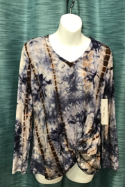 Tribal  tie-dye twist front top - Product Mini Image