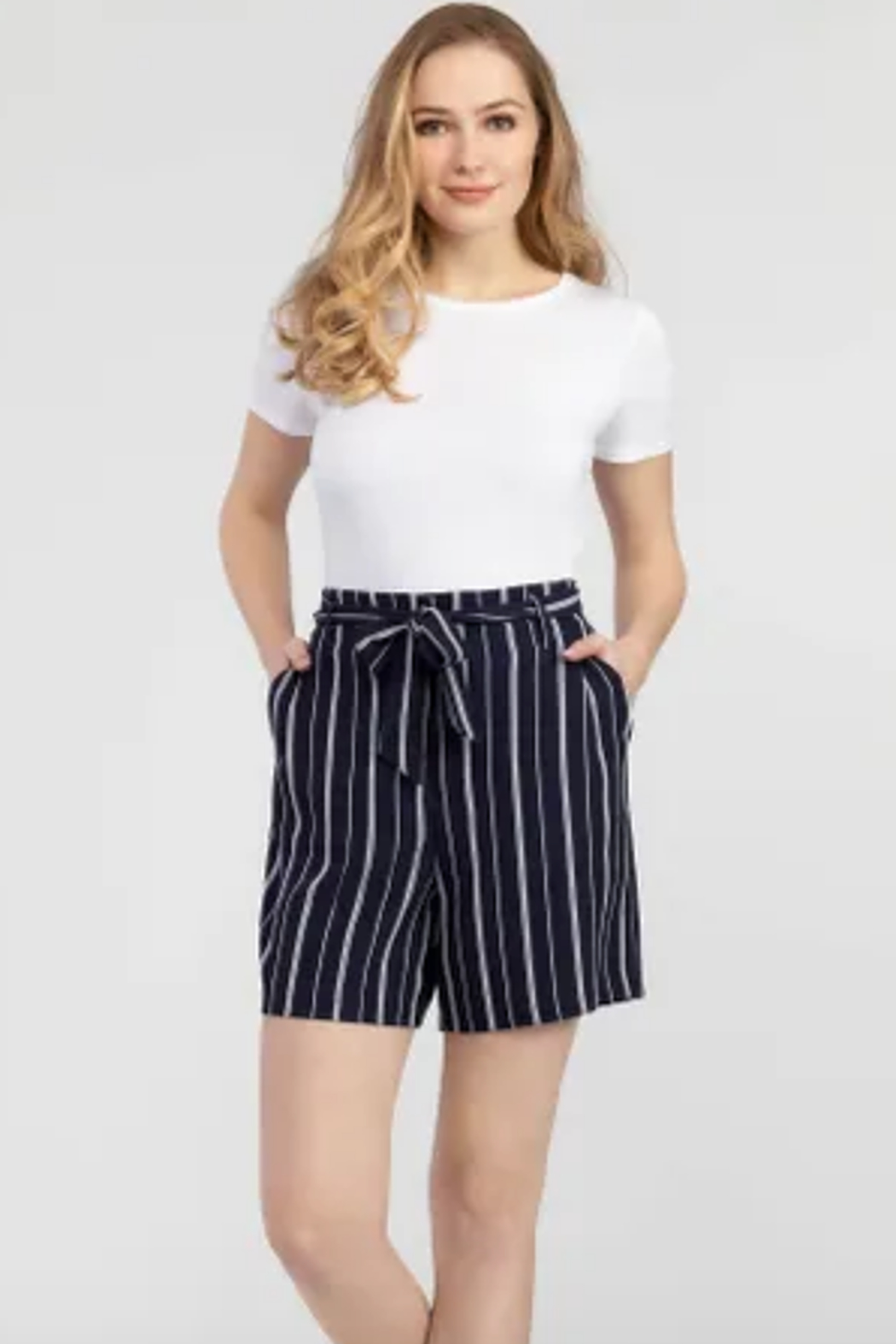 Tribal  Tie Waist Stripe Shorts - Front Cropped Image