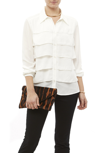 Tribal Cream Tiered Blouse - Main Image