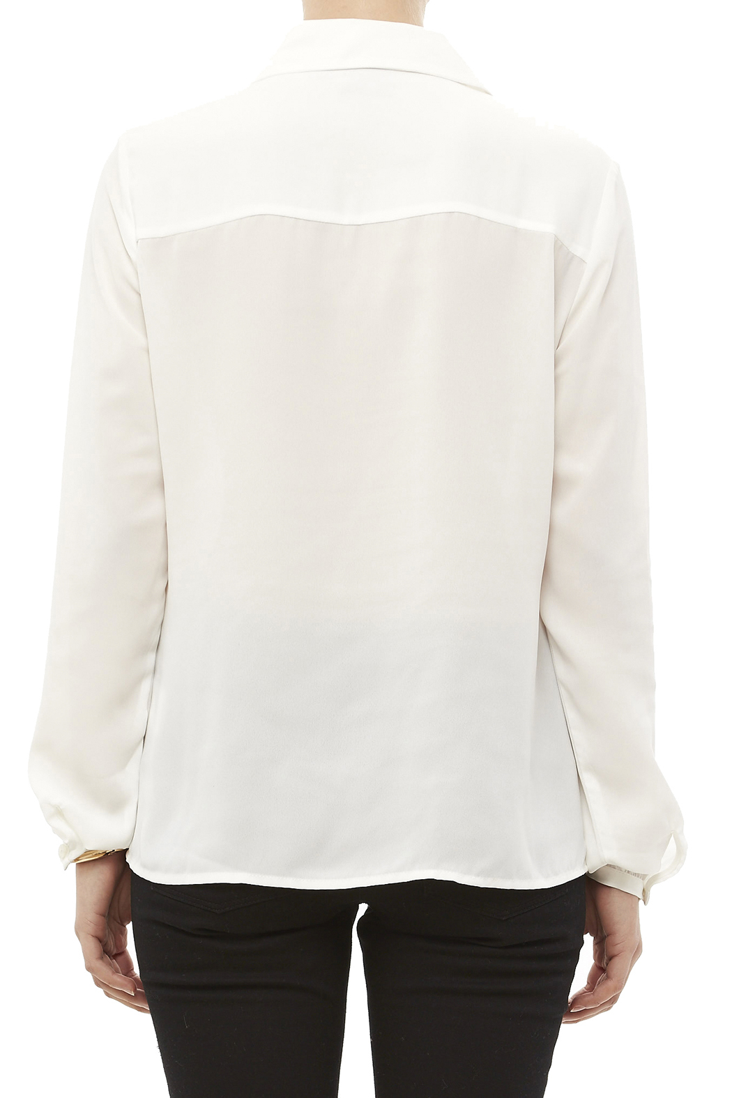 Tribal Cream Tiered Blouse - Back Cropped Image
