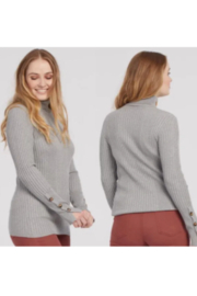 Tribal  Turtleneck with Cuff Buttons - Grey Mix - Product Mini Image