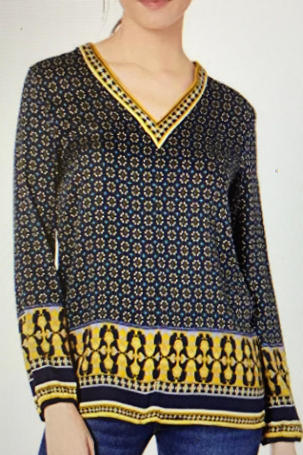 Tribal V-Neck Print Blouse - Front Cropped Image