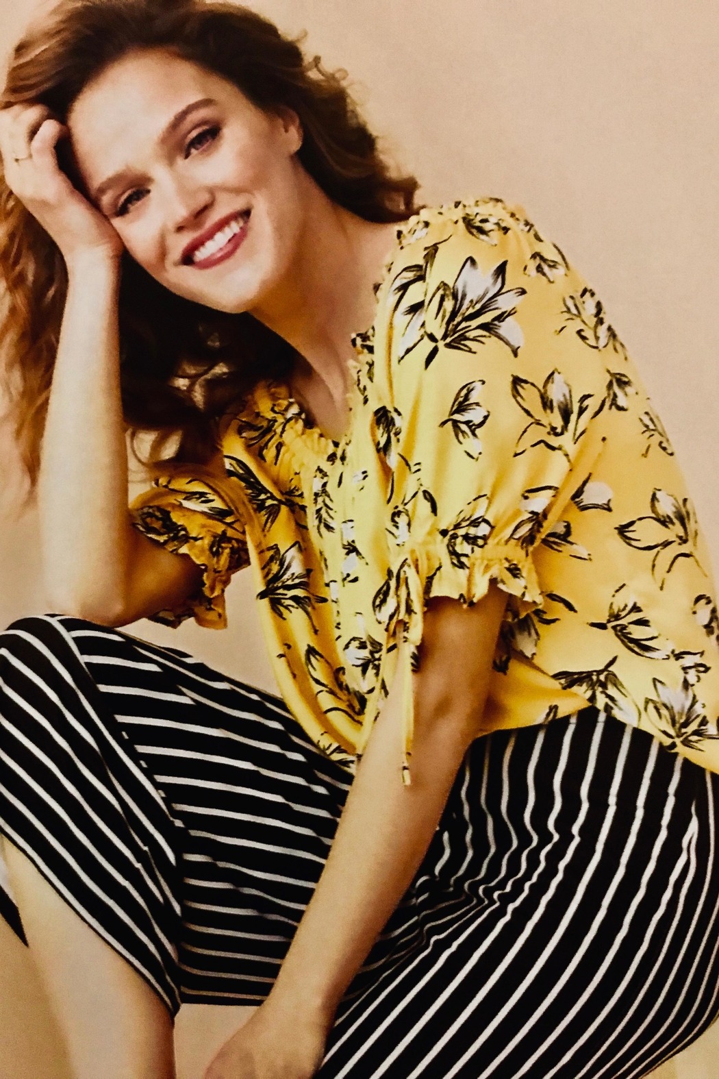 Tribal Yellow Print Blouse - Front Cropped Image