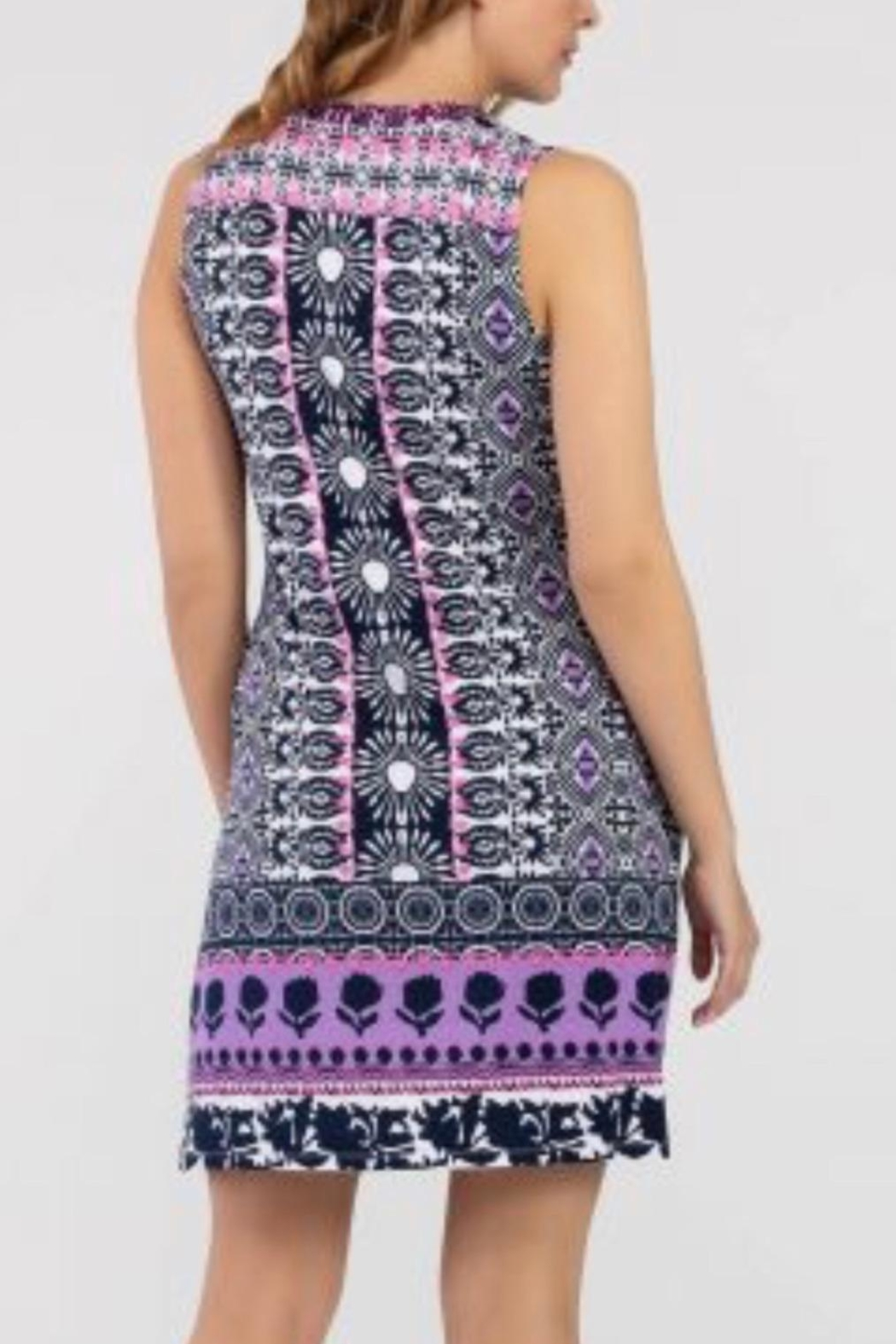 Tribal Jeans Casual Purple/pink Print Dress - Front Full Image