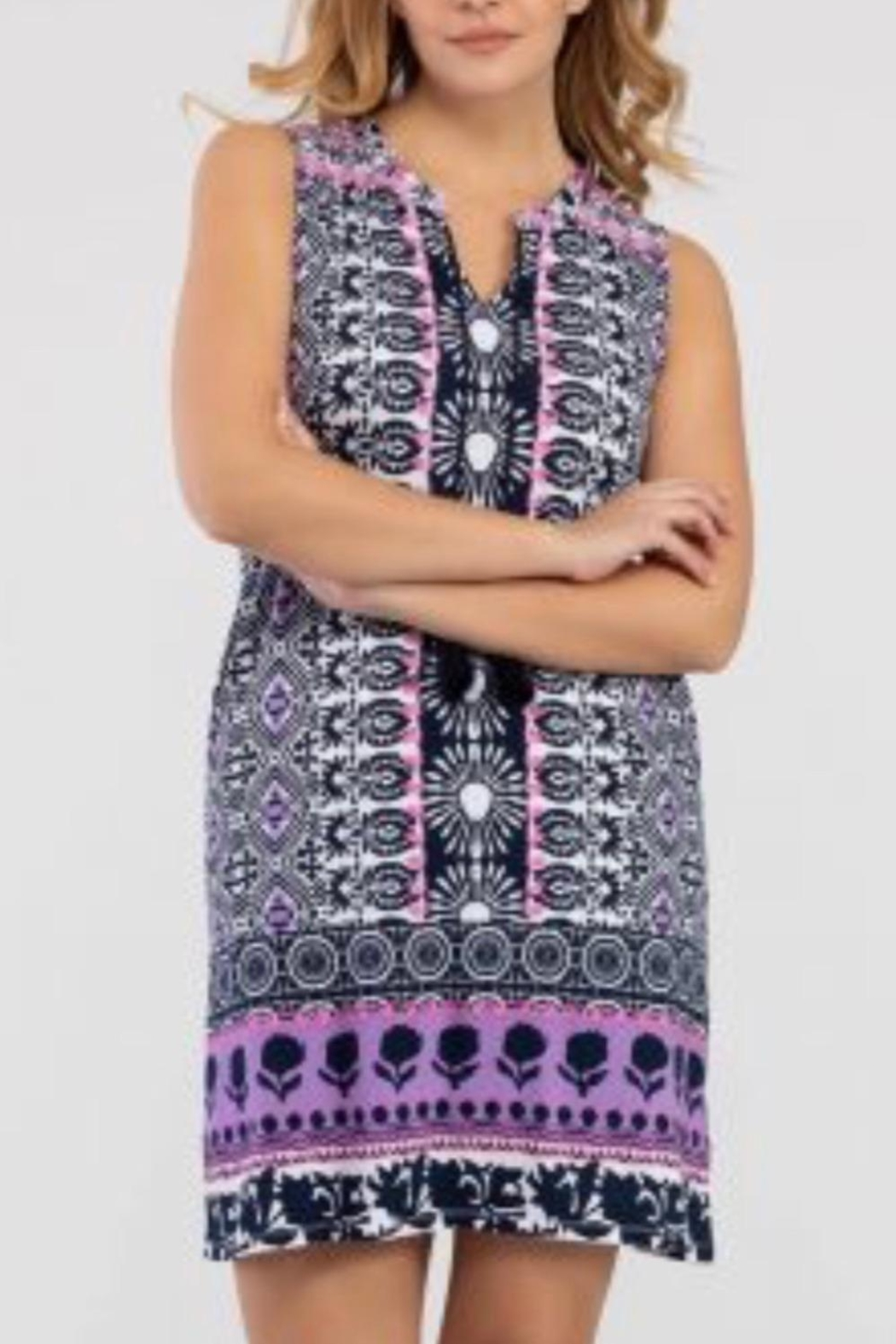 Tribal Jeans Casual Purple/pink Print Dress - Main Image