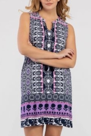 Tribal Jeans Casual Purple/pink Print Dress - Front cropped