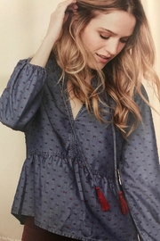 Tribal Jeans Chambray Peasant Blouse - Front cropped