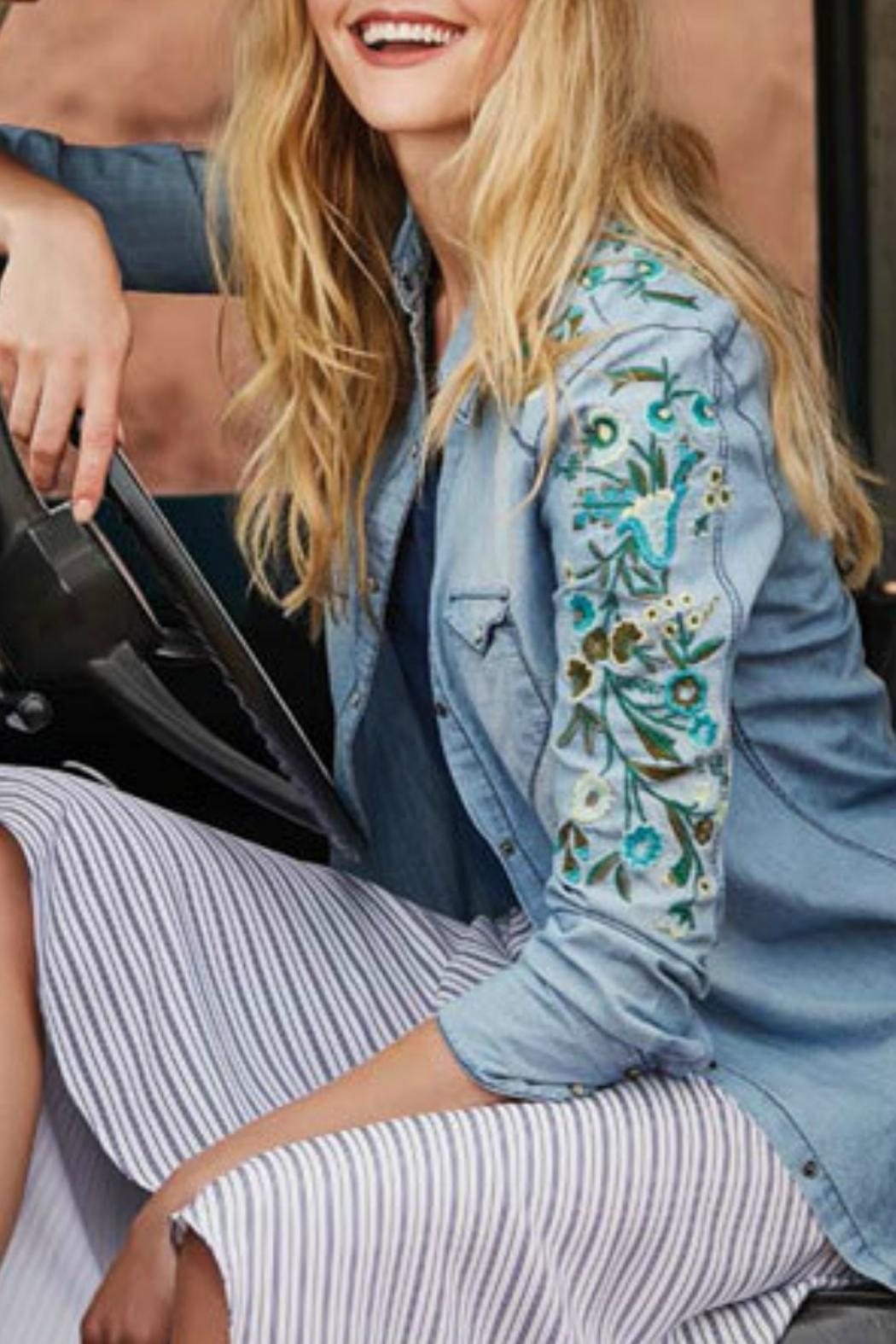 Tribal Jeans Embroidered Denim Shirt - Front Cropped Image