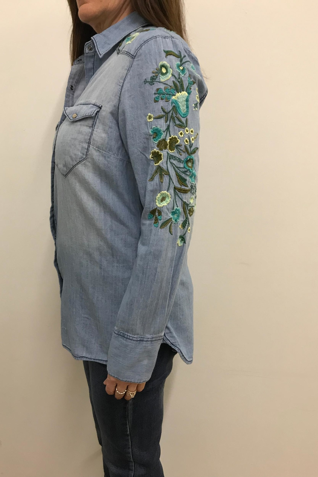 Tribal Jeans Embroidered Denim Shirt - Front Full Image