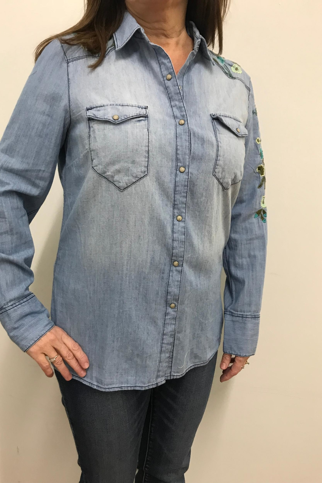 Tribal Jeans Embroidered Denim Shirt - Main Image
