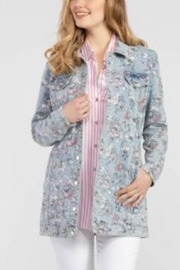 Tribal Jeans Long Floral Denim Jacket - Product Mini Image