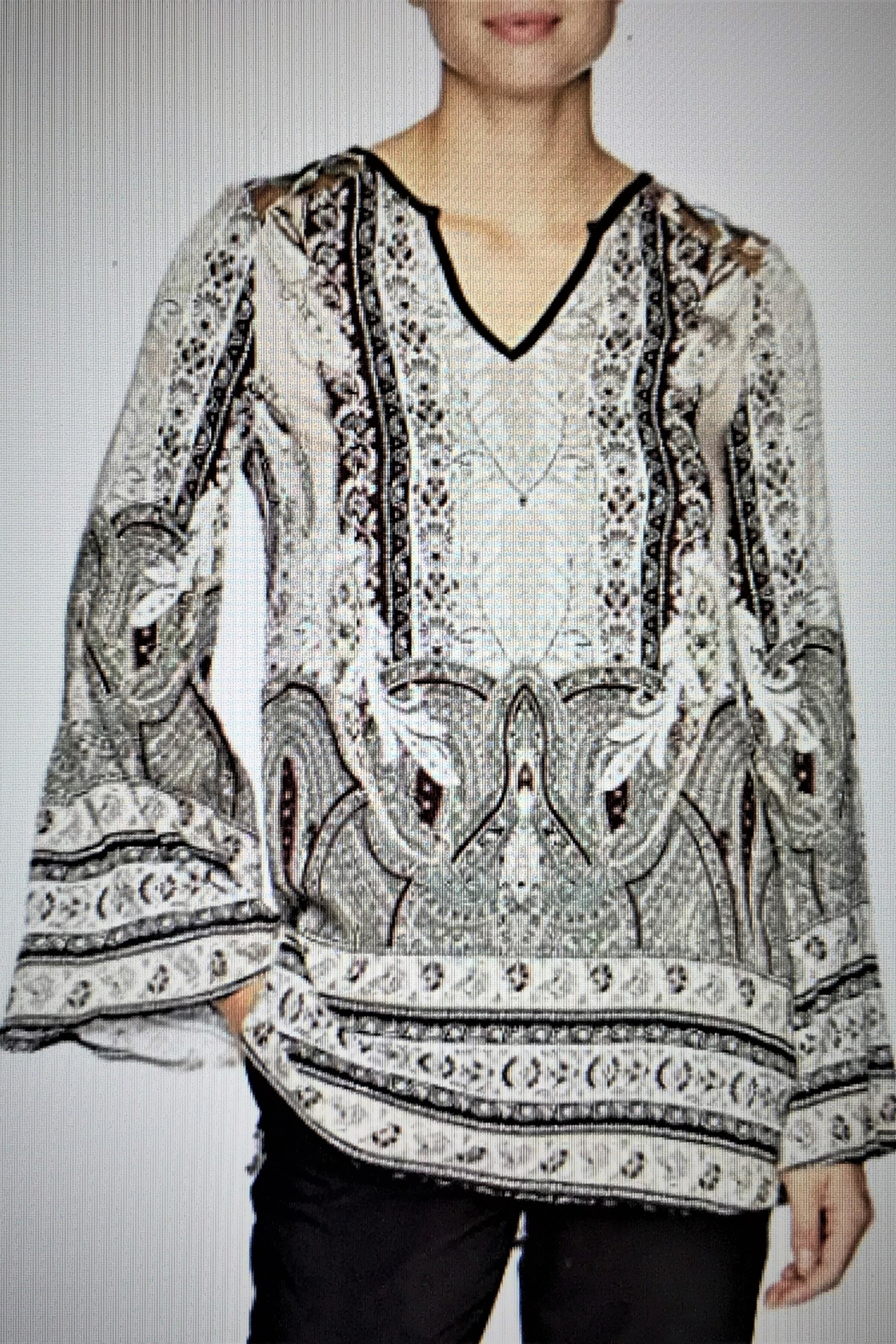 Tribal Jeans Paisley Bohemian Tunic Blouse - Front Cropped Image
