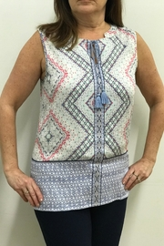 Tribal Jeans Print Tank Blouse - Front cropped