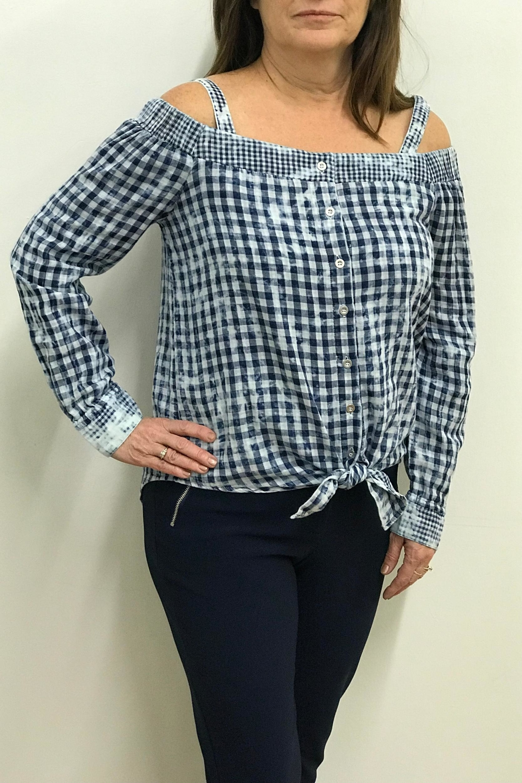 Tribal Jeans Tie Front Shirt - Front Cropped Image