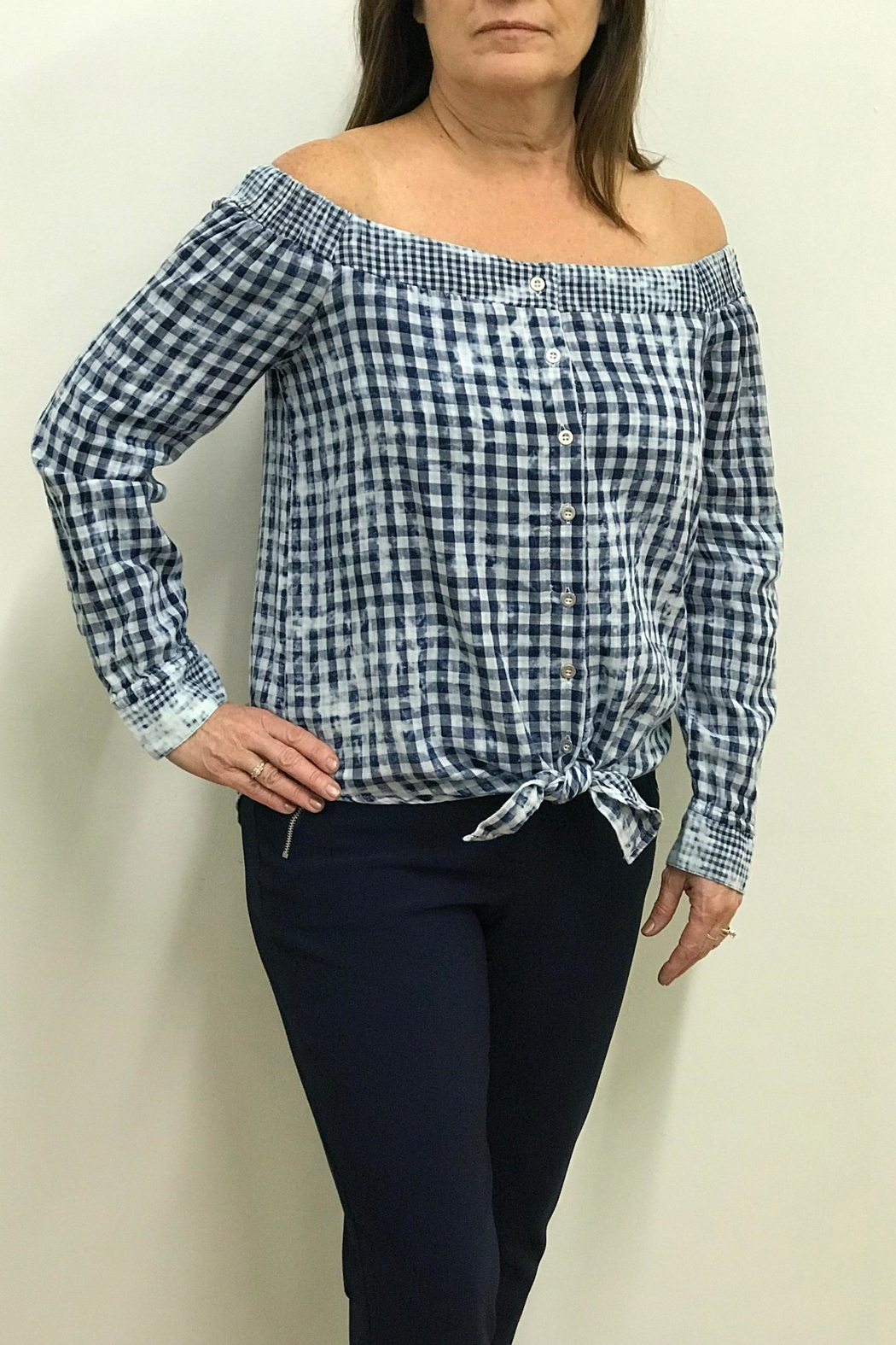 Tribal Jeans Tie Front Shirt - Front Full Image