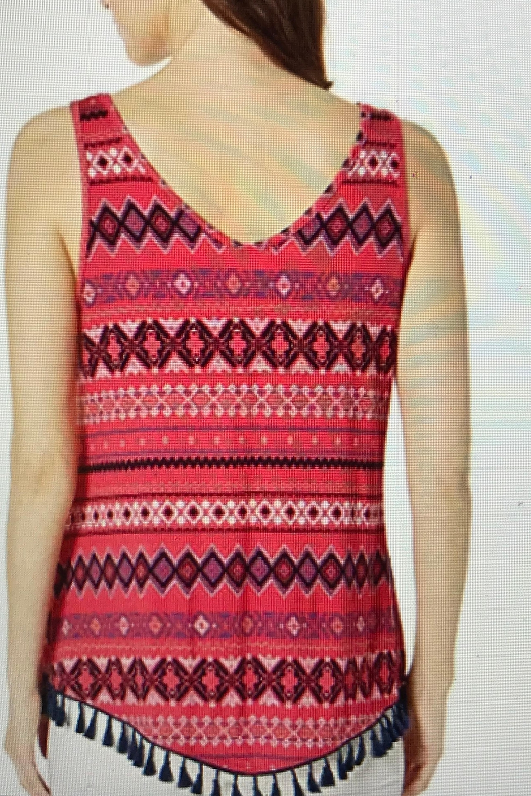 Tribal Jeans Top With Tassels - Front Full Image