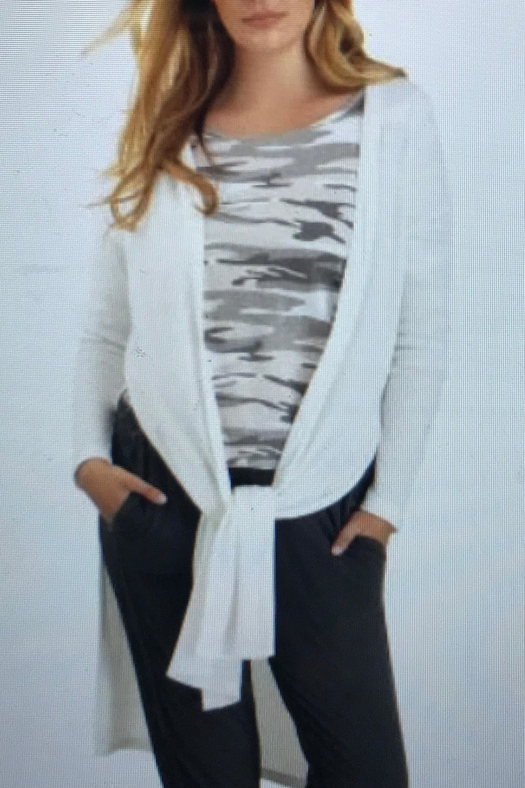 Tribal Jeans Waffle Knit Cardigan - Front Full Image