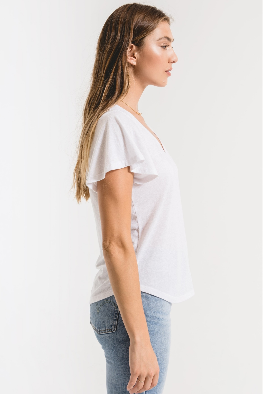 z supply Triblend Flutter V-Neck Tee - Front Full Image