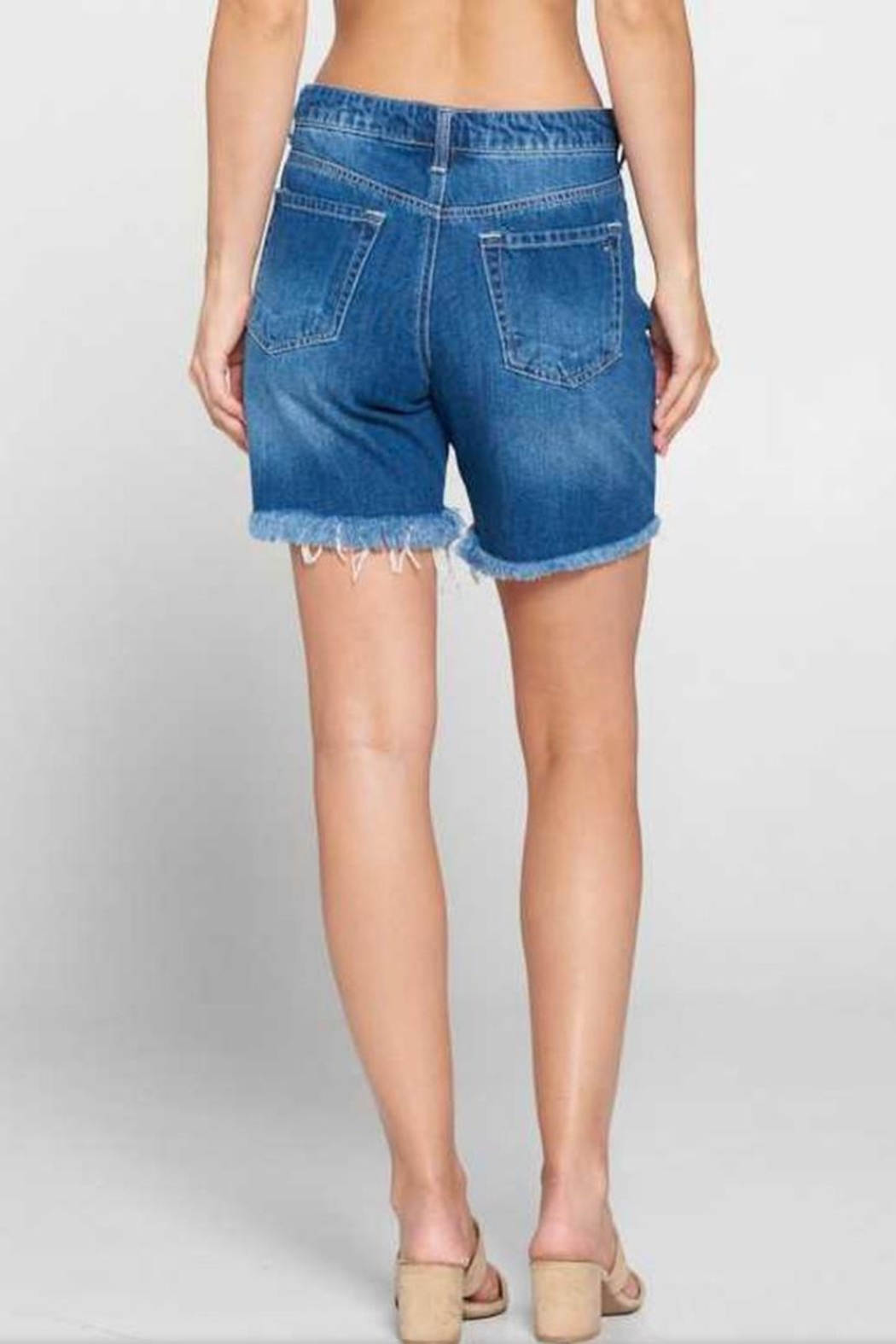 Tricotto Denim Distressed Shorts - Front Full Image