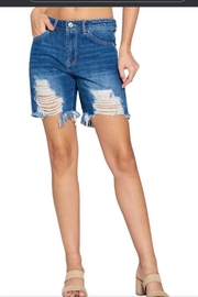 Tricotto Denim Distressed Shorts - Product Mini Image