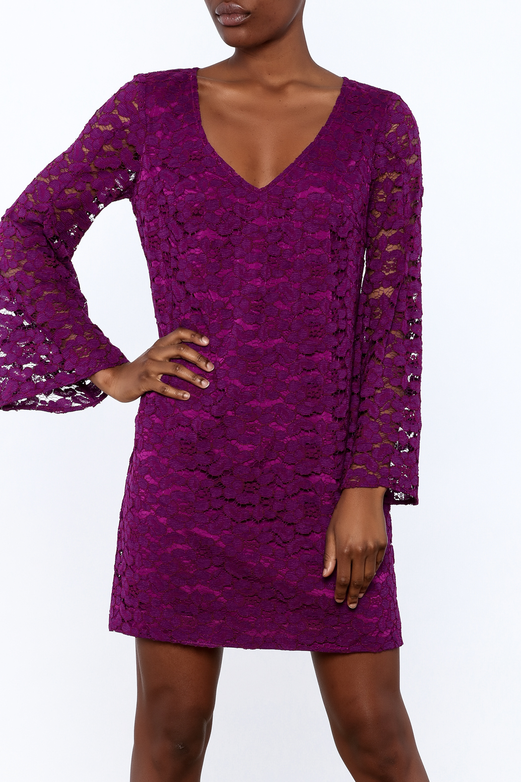 Trina Turk Purple Revue Dress - Front Cropped Image