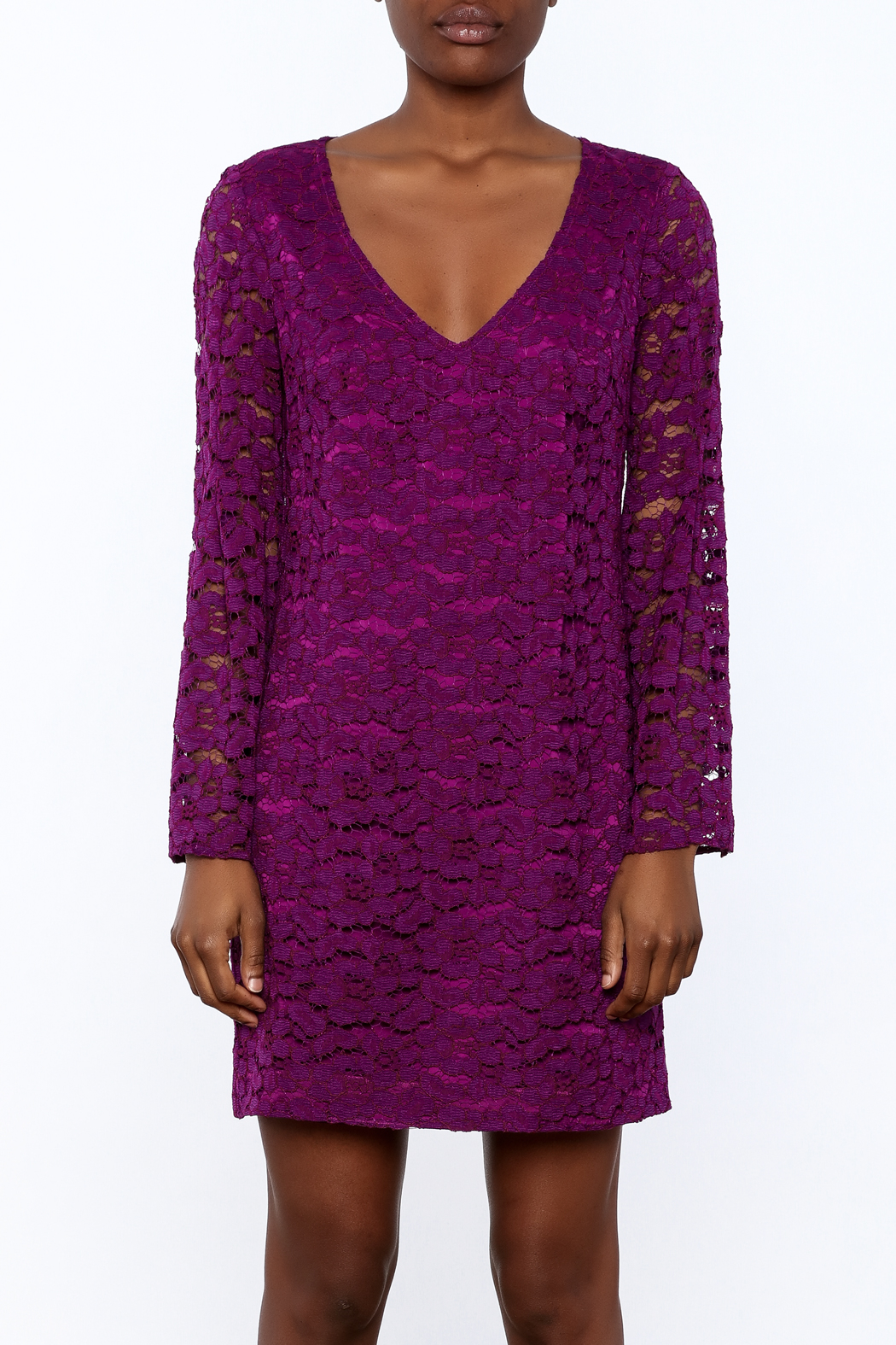 Trina Turk Purple Revue Dress - Side Cropped Image