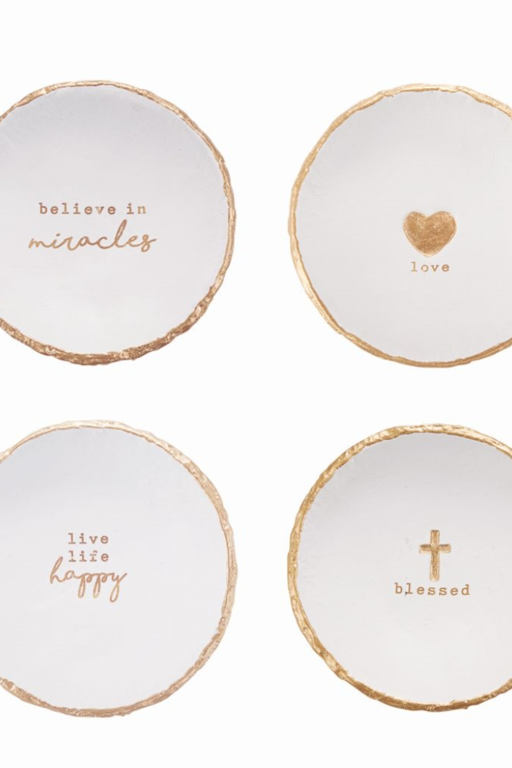 MudPie Trinket dishes with message - Front Cropped Image