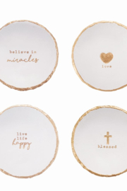 MudPie Trinket dishes with message - Front cropped