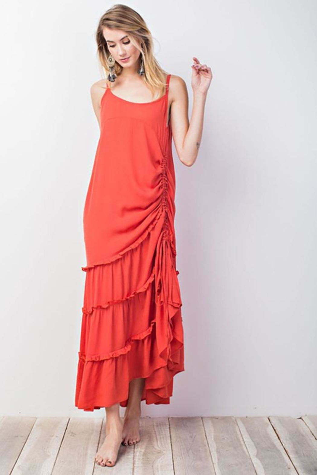 easel Triple Ruffle Maxi - Front Cropped Image