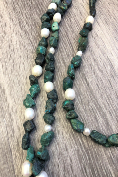 Jewelry Junkie Triple Strand Turquoise & Freshwater Pearl Necklace - Product List Image