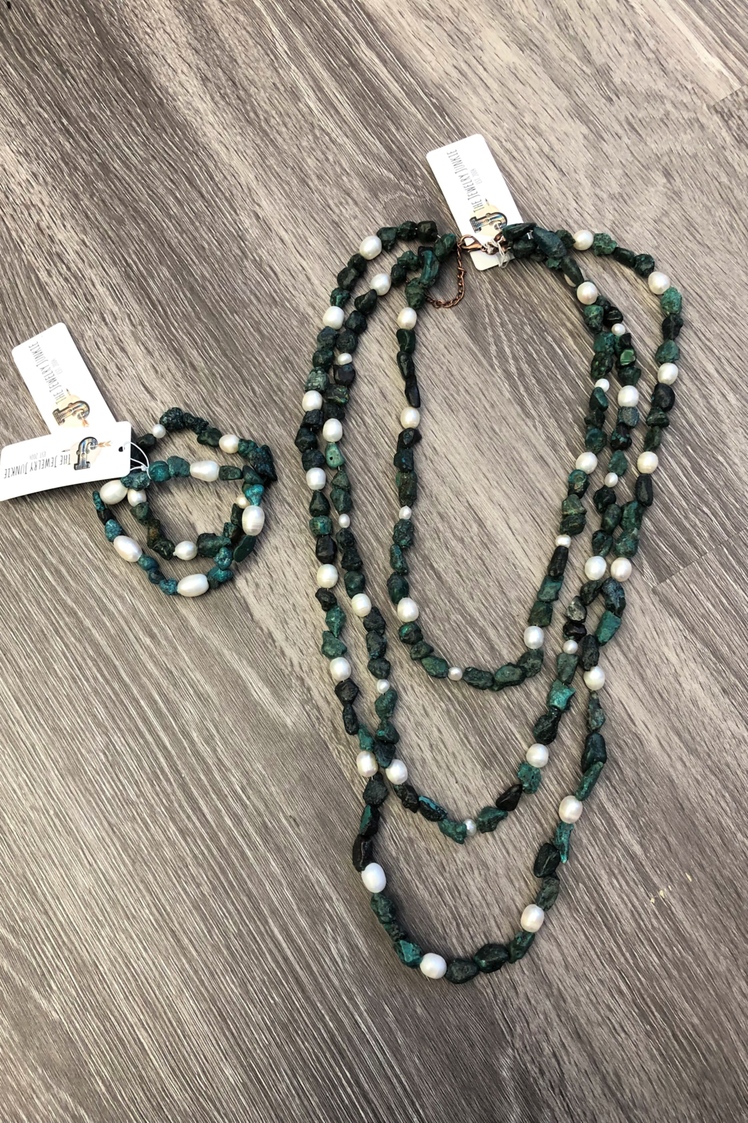 Jewelry Junkie Triple Strand Turquoise & Freshwater Pearl Necklace - Back Cropped Image