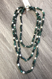 Jewelry Junkie Triple Strand Turquoise & Freshwater Pearl Necklace - Front cropped
