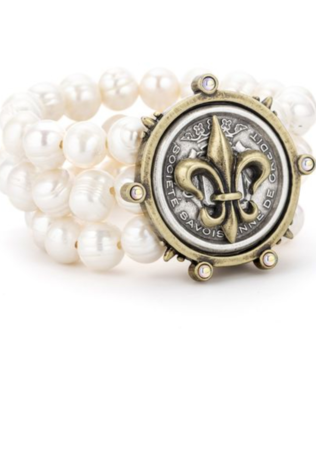 French Kande TRIPLE STRAND WHITE PEARL Bracelet with Fleur de Lis MEDALLION - Front Cropped Image