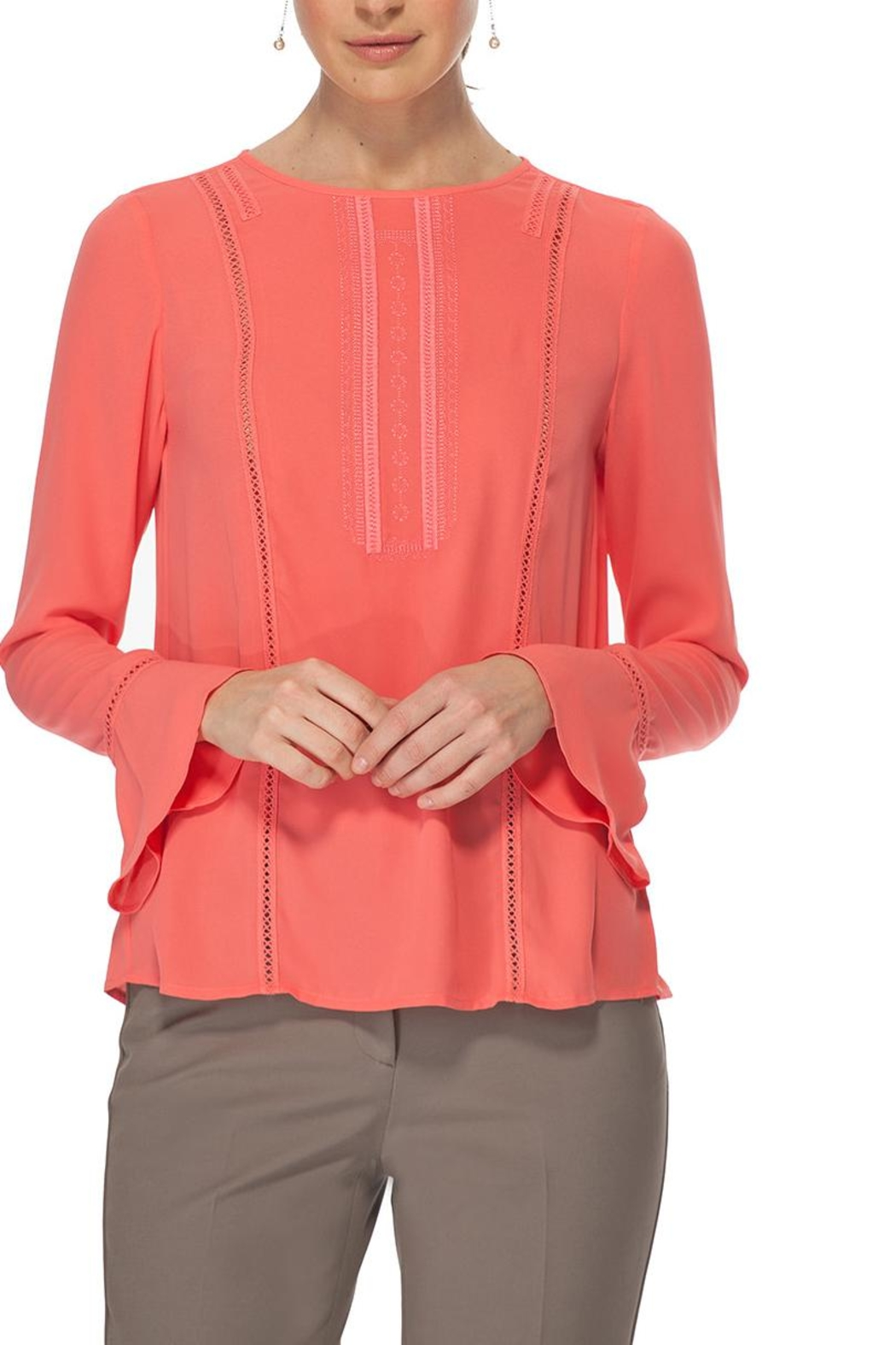 TRISTAN Coral Embroidery Blouse - Main Image