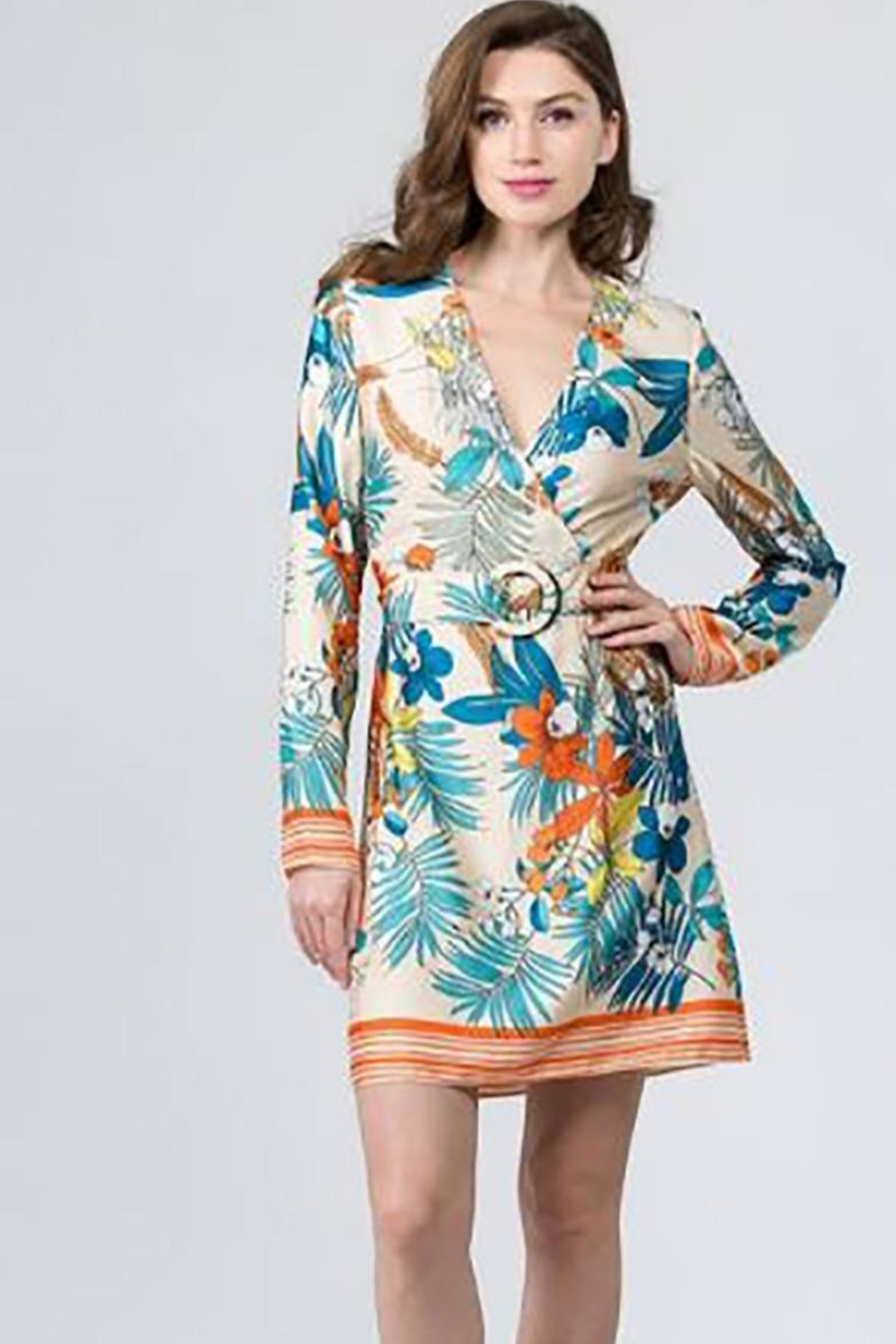 On Twelfth Tropical Belted Dress - Main Image