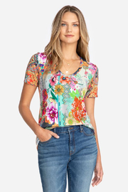 Johnny Was Tropical Block Short Sleeve V-Neck - Front cropped