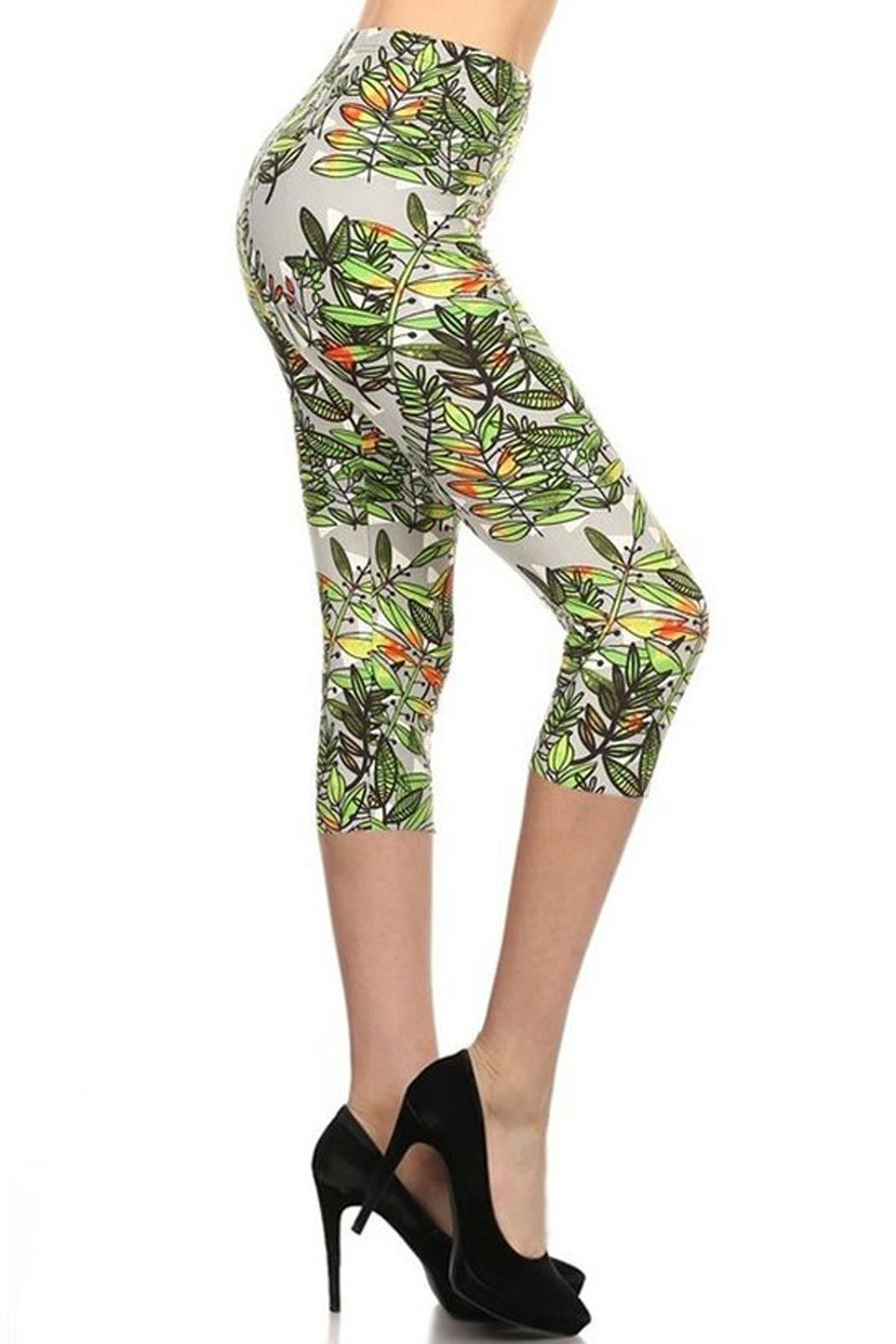 LEGGINGS MANIA Tropical Capri Leggings - Main Image