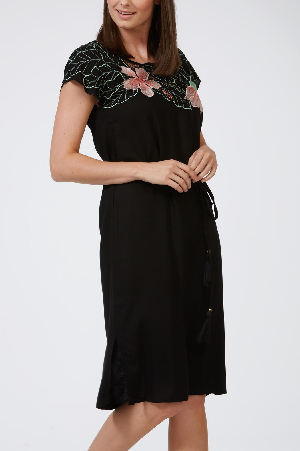 Sugarhill Boutique Tropical Cutwork Dress - Front Full Image