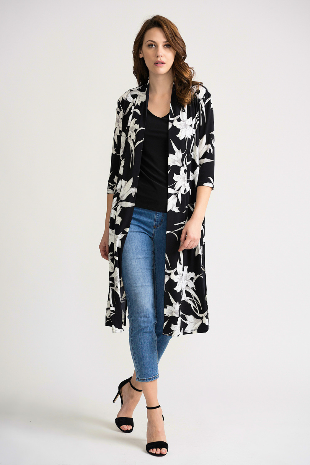 Joseph Ribkoff Tropical Duster Cover-Up, Black/White - Back Cropped Image