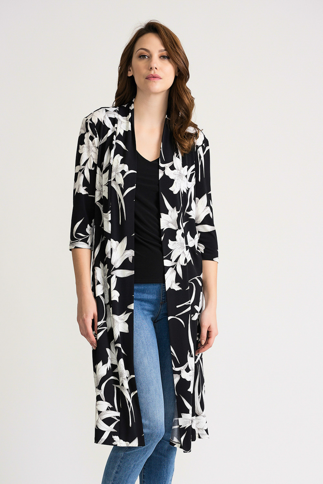 Joseph Ribkoff Tropical Duster Cover-Up, Black/White - Front Cropped Image