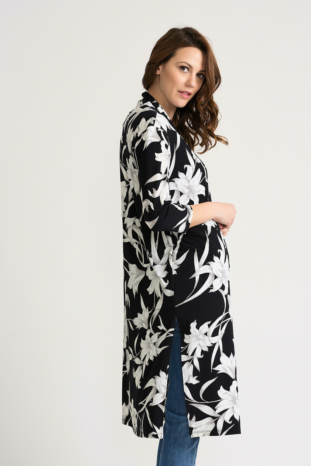 Joseph Ribkoff Tropical Duster Cover-Up, Black/White - Side Cropped Image