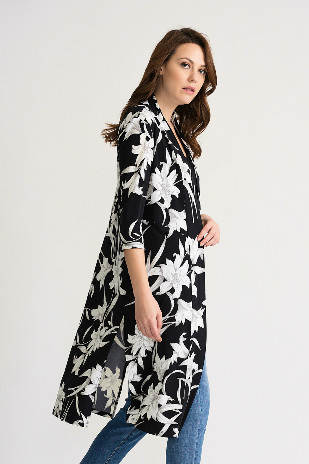 Joseph Ribkoff Tropical Duster Cover-Up, Black/White - Front Full Image