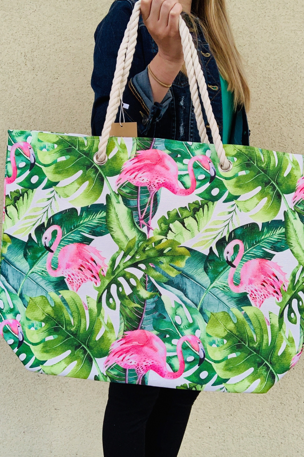 Caroline Hill Tropical Flamingo Bag - Front Cropped Image