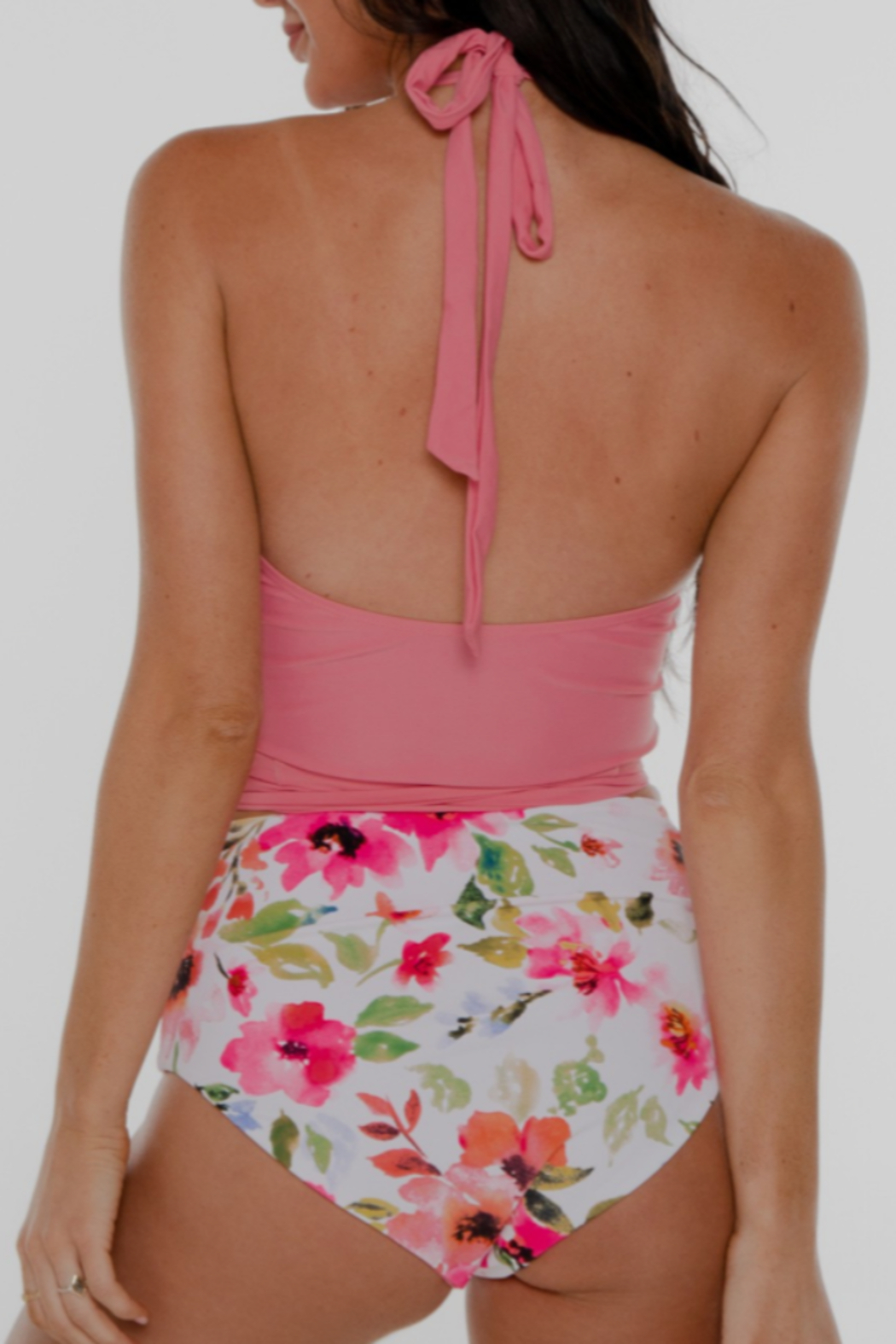 Coral Reef Swimwear  Tropical Flower Curvy Halter Top - Front Full Image