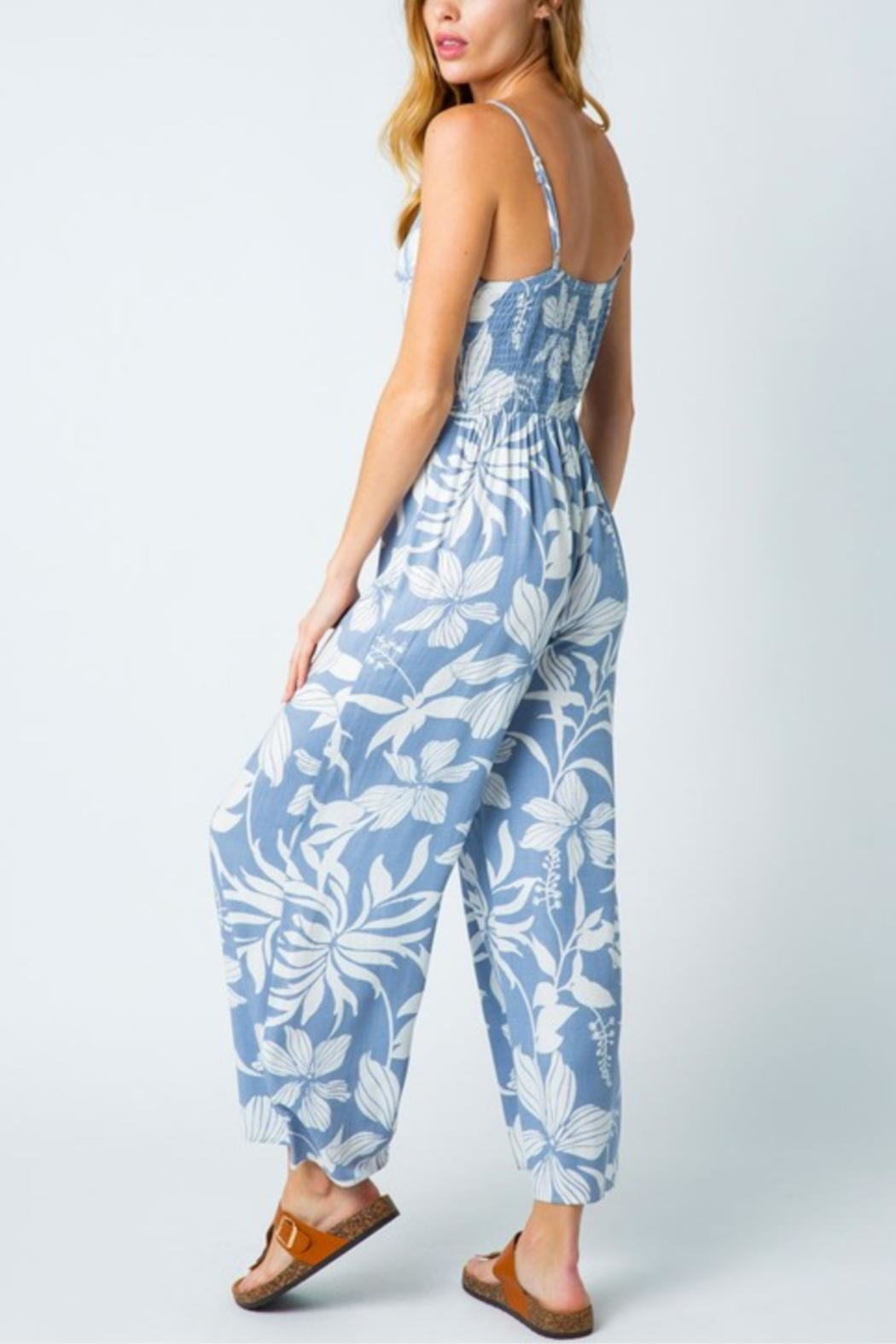 Cozy Casual Tropical Flower Jumpsuit - Side Cropped Image