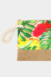 Lyn -Maree's Tropical Fruits Pouch Clutch Bag - Front cropped